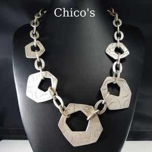 Chico's Necklace, Silver Tone Geometric Links